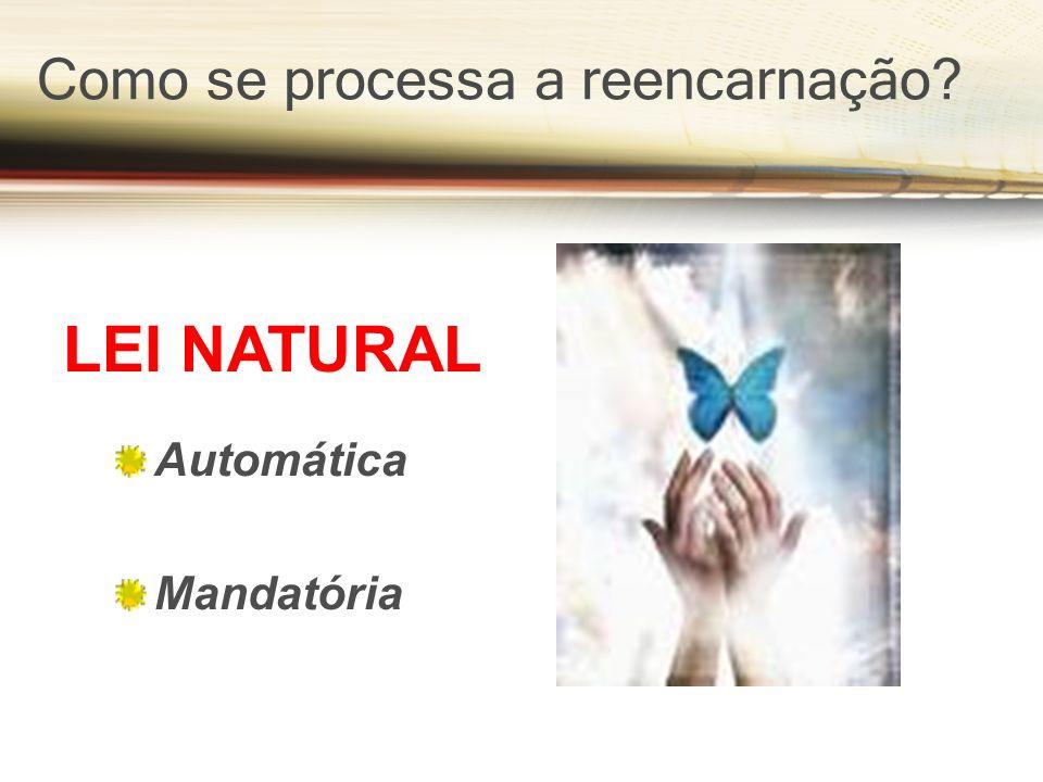 Como se processa a reencarnação? Automática Mandatória LEI NATURAL