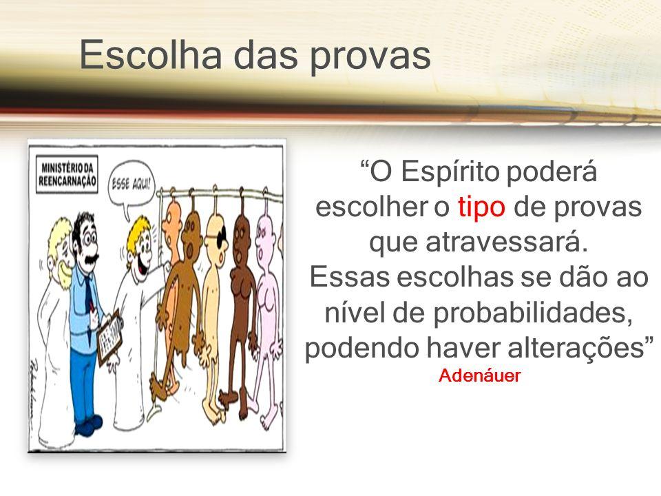 Escolha das provas O Espírito poderá escolher o tipo de provas que atravessará.