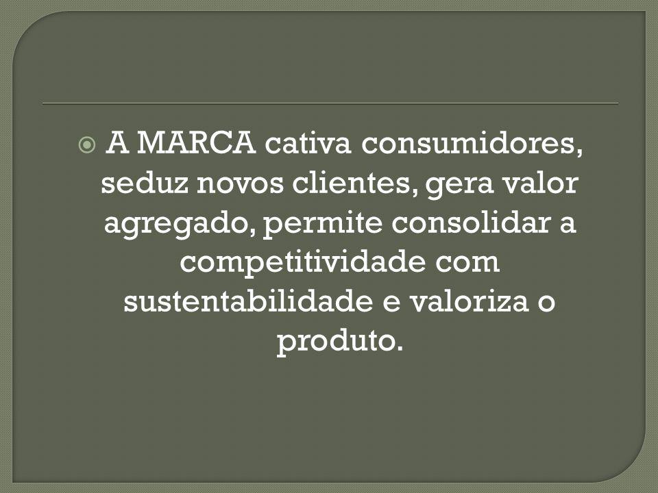 A MARCA cativa consumidores, seduz novos clientes, gera valor agregado, permite consolidar a competitividade com sustentabilidade e valoriza o produto.