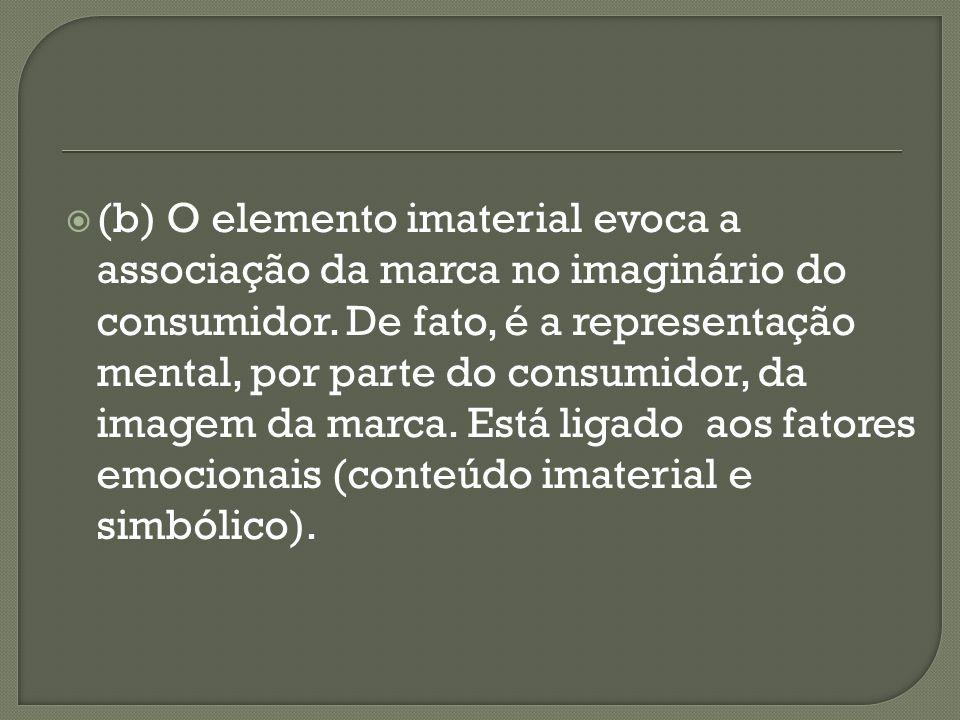 (b) O elemento imaterial evoca a associação da marca no imaginário do consumidor.