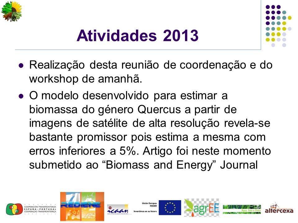 Atividades 2013 Realização desta reunião de coordenação e do workshop de amanhã. O modelo desenvolvido para estimar a biomassa do género Quercus a par