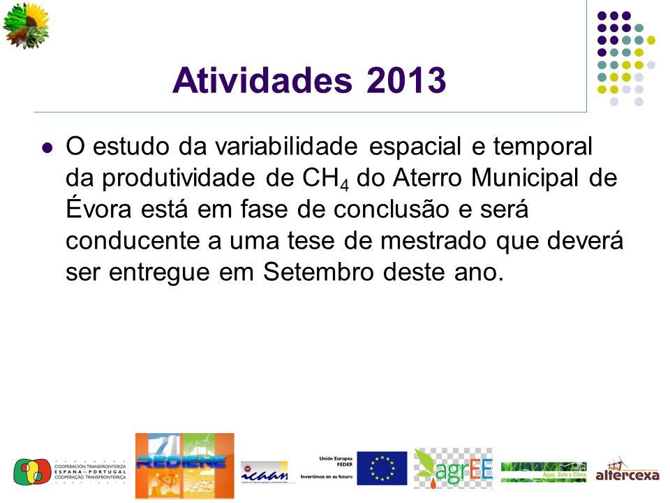 Atividades 2013 O estudo da variabilidade espacial e temporal da produtividade de CH 4 do Aterro Municipal de Évora está em fase de conclusão e será conducente a uma tese de mestrado que deverá ser entregue em Setembro deste ano.