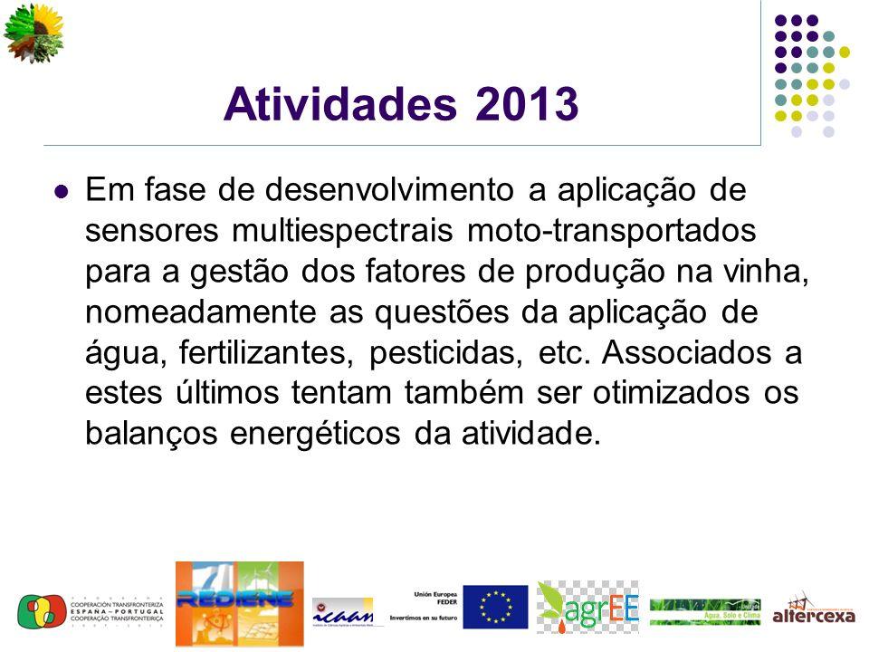 Atividades 2013 Em fase de desenvolvimento a aplicação de sensores multiespectrais moto-transportados para a gestão dos fatores de produção na vinha, nomeadamente as questões da aplicação de água, fertilizantes, pesticidas, etc.