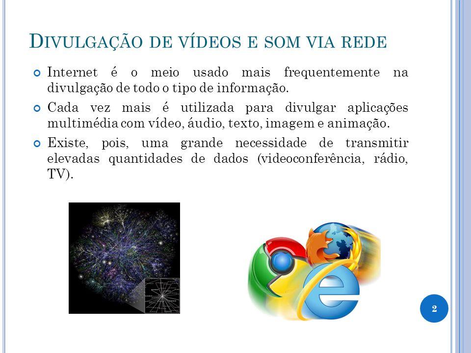 D IVULGAÇÃO DE VÍDEOS E SOM VIA REDE Internet é o meio usado mais frequentemente na divulgação de todo o tipo de informação.