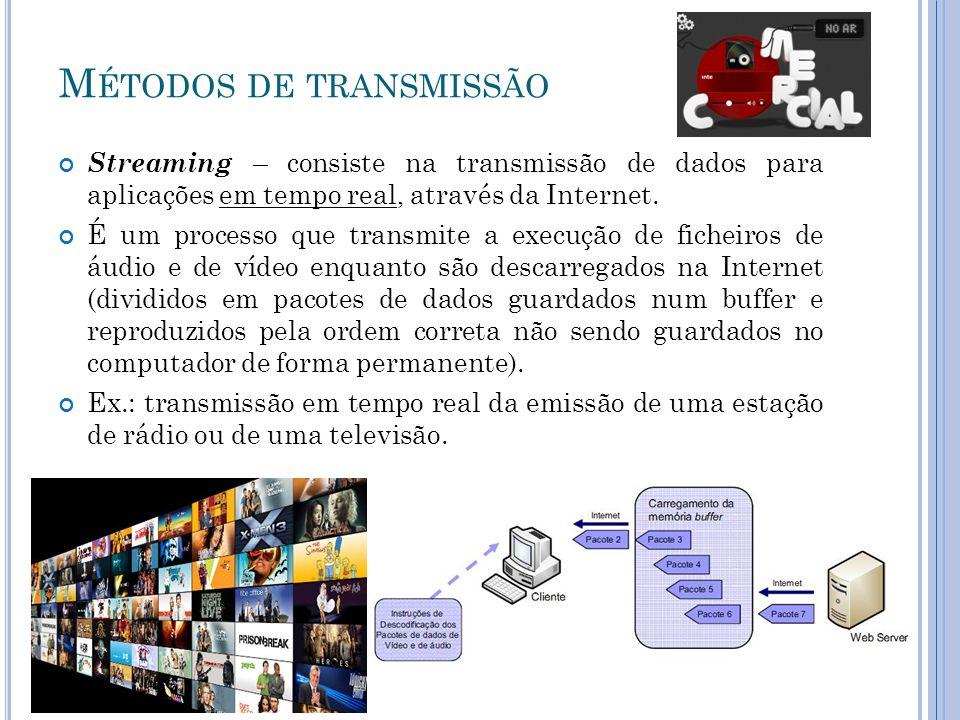 M ÉTODOS DE TRANSMISSÃO Download – é o processo de transmissão de dados a partir de um servidor da Internet para o computador do utilizador.