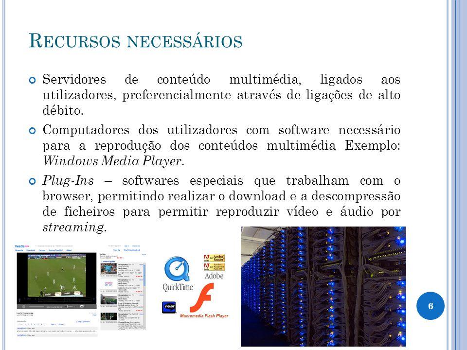 R ECURSOS NECESSÁRIOS Servidores de conteúdo multimédia, ligados aos utilizadores, preferencialmente através de ligações de alto débito.