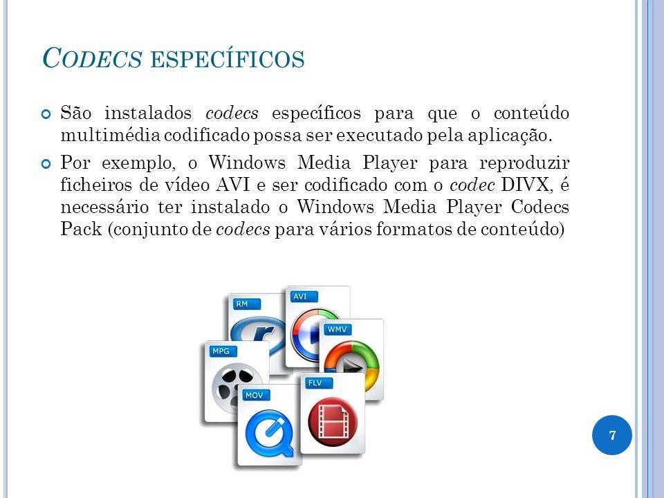 C ODECS ESPECÍFICOS São instalados codecs específicos para que o conteúdo multimédia codificado possa ser executado pela aplicação.