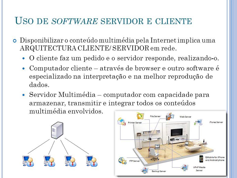 U SO DE SOFTWARE SERVIDOR E CLIENTE Disponibilizar o conteúdo multimédia pela Internet implica uma ARQUITECTURA CLIENTE/ SERVIDOR em rede.