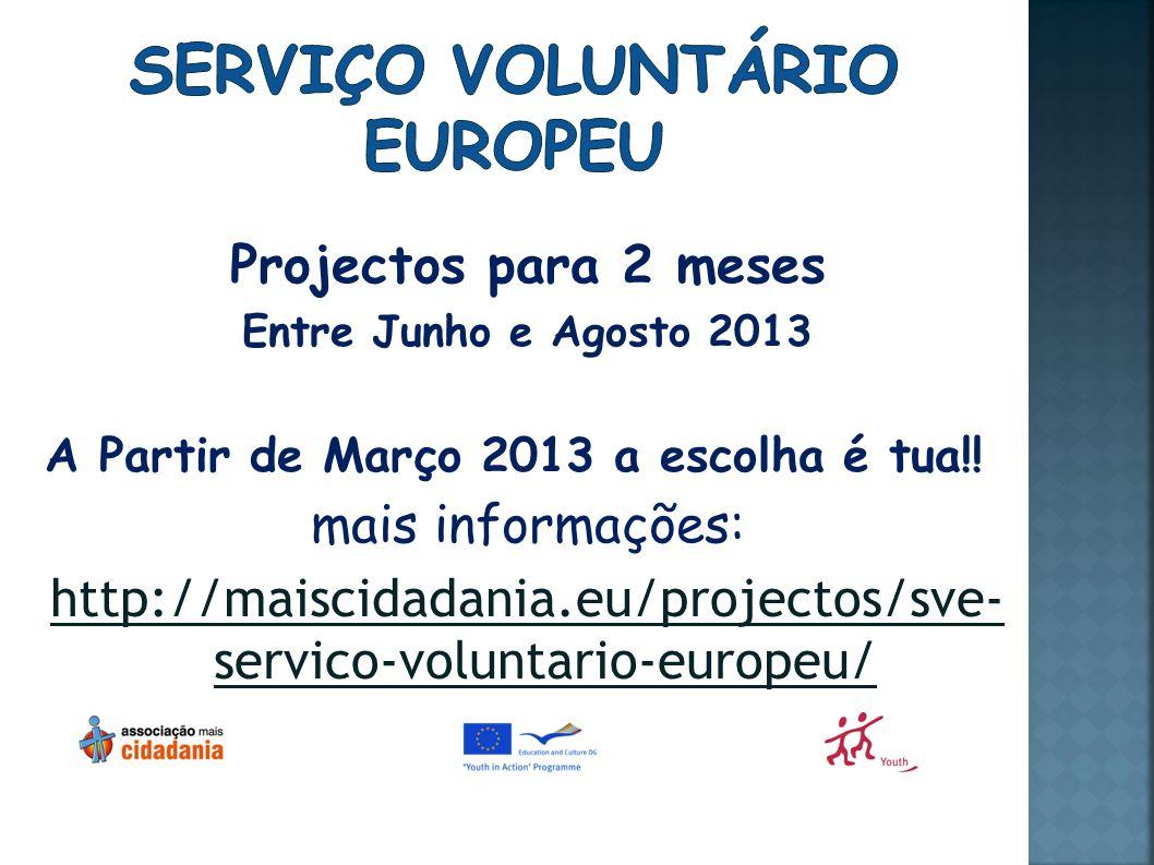 Projectos para 2 meses Entre Junho e Agosto 2013 A Partir de Março 2013 a escolha é tua!.