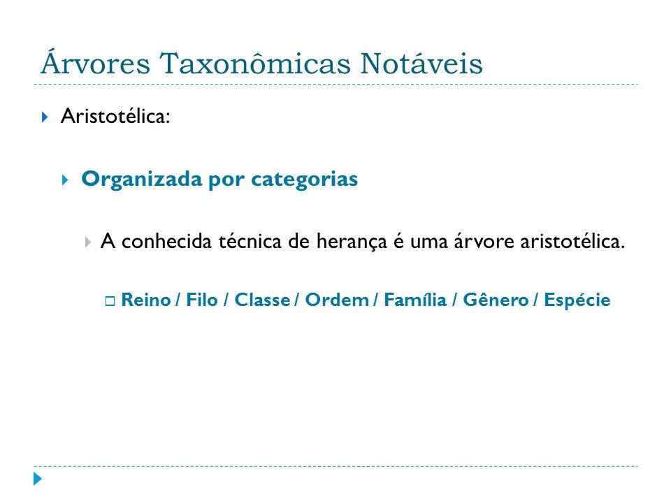 Árvores Taxonômicas Notáveis Aristotélica: Organizada por categorias A conhecida técnica de herança é uma árvore aristotélica.