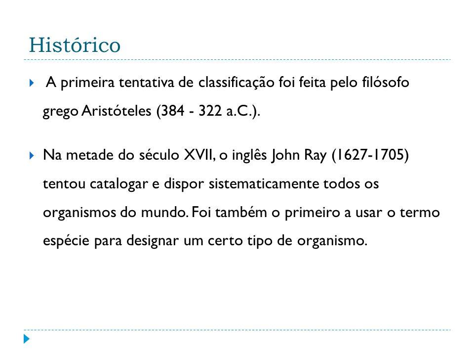 Histórico A primeira tentativa de classificação foi feita pelo filósofo grego Aristóteles (384 - 322 a.C.).