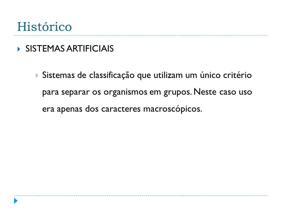 Histórico SISTEMAS ARTIFICIAIS Sistemas de classificação que utilizam um único critério para separar os organismos em grupos.