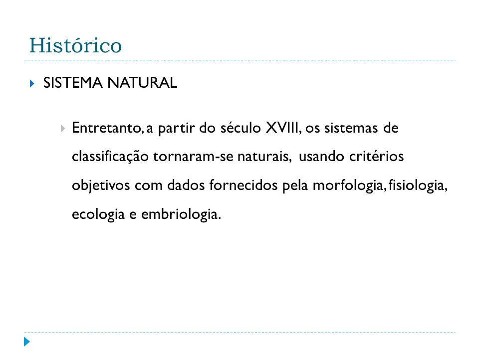Histórico SISTEMA NATURAL Entretanto, a partir do século XVIII, os sistemas de classificação tornaram-se naturais, usando critérios objetivos com dados fornecidos pela morfologia, fisiologia, ecologia e embriologia.