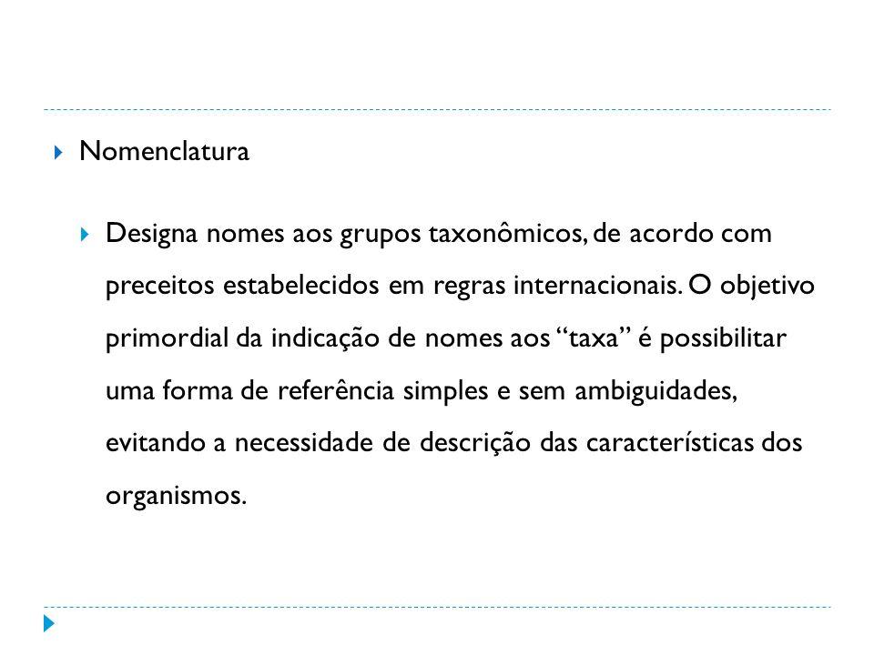Nomenclatura Designa nomes aos grupos taxonômicos, de acordo com preceitos estabelecidos em regras internacionais.