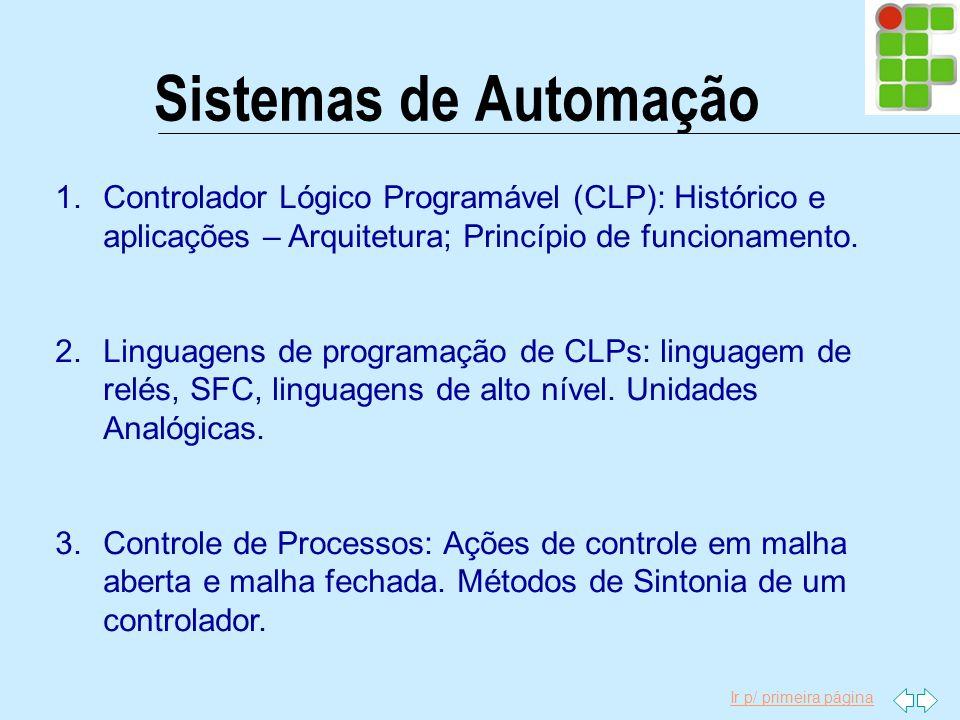 Ir p/ primeira página Sistemas de Automação 1.Controlador Lógico Programável (CLP): Histórico e aplicações – Arquitetura; Princípio de funcionamento.