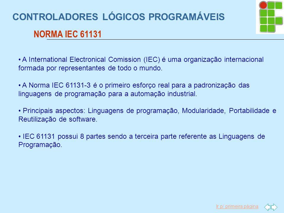 Ir p/ primeira página CONTROLADORES LÓGICOS PROGRAMÁVEIS NORMA IEC 61131 A International Electronical Comission (IEC) é uma organização internacional