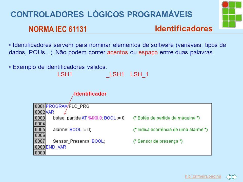 Ir p/ primeira página CONTROLADORES LÓGICOS PROGRAMÁVEIS NORMA IEC 61131 Identificadores Identificador Identificadores servem para nominar elementos d