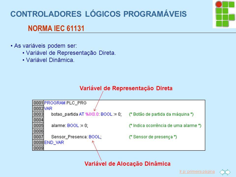Ir p/ primeira página CONTROLADORES LÓGICOS PROGRAMÁVEIS NORMA IEC 61131 As variáveis podem ser: Variável de Representação Direta. Variável Dinâmica.