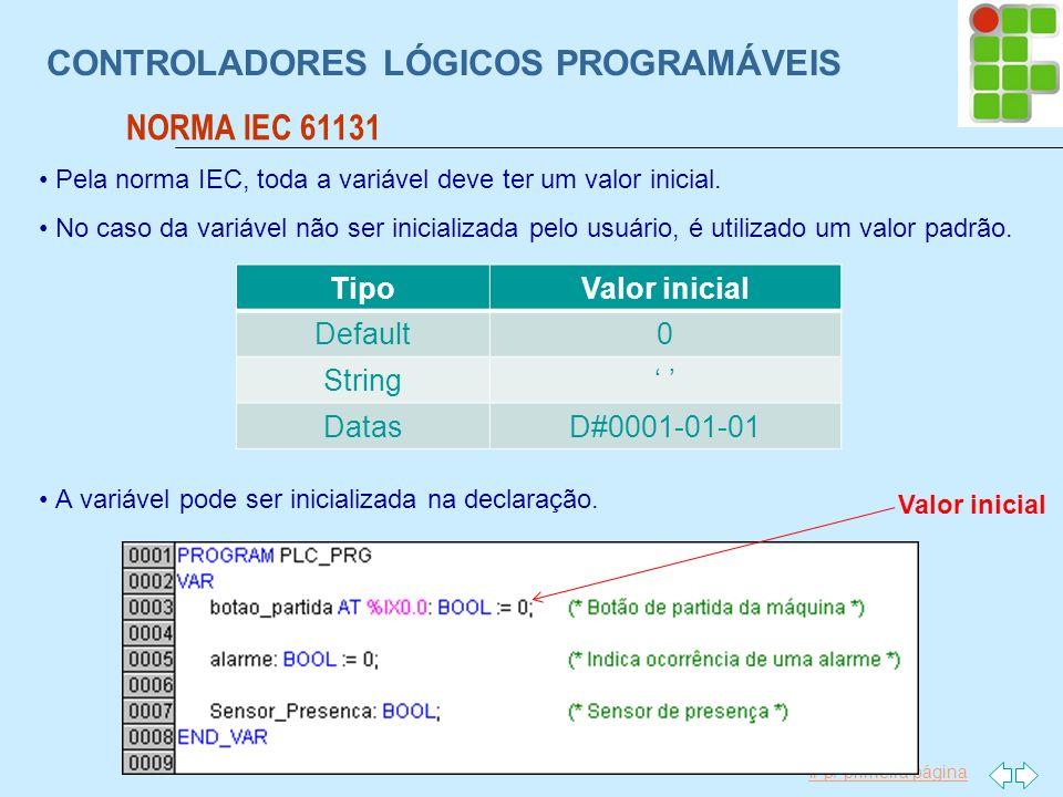 Ir p/ primeira página CONTROLADORES LÓGICOS PROGRAMÁVEIS NORMA IEC 61131 Pela norma IEC, toda a variável deve ter um valor inicial. No caso da variáve