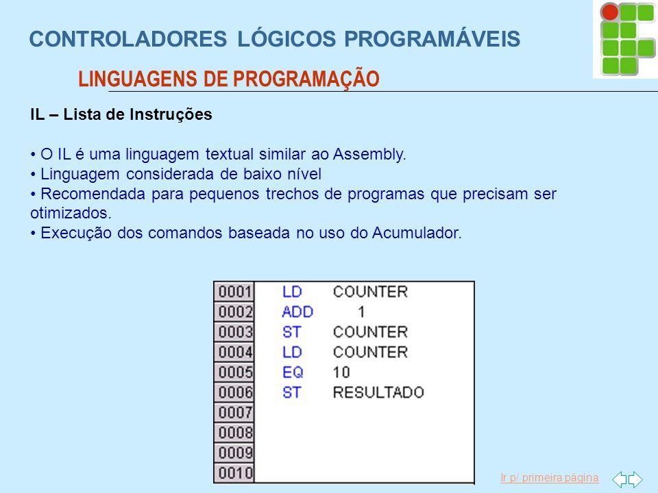Ir p/ primeira página CONTROLADORES LÓGICOS PROGRAMÁVEIS LINGUAGENS DE PROGRAMAÇÃO IL – Lista de Instruções O IL é uma linguagem textual similar ao As