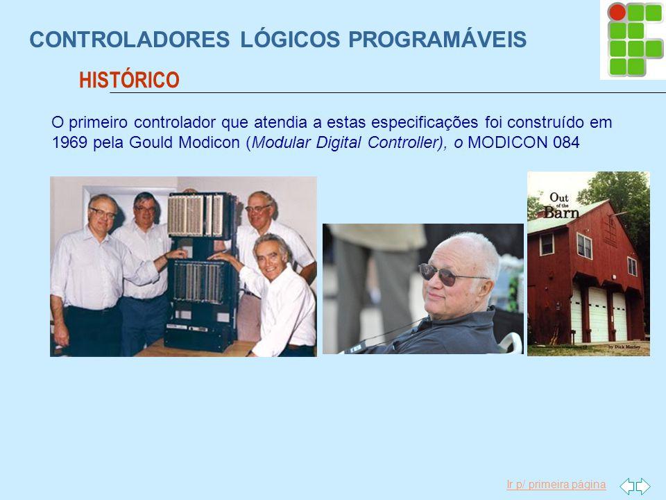 Ir p/ primeira página CONTROLADORES LÓGICOS PROGRAMÁVEIS HISTÓRICO O primeiro controlador que atendia a estas especificações foi construído em 1969 pe