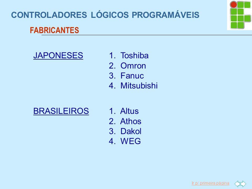 Ir p/ primeira página CONTROLADORES LÓGICOS PROGRAMÁVEIS FABRICANTES BRASILEIROS1. Altus 2. Athos 3. Dakol 4. WEG JAPONESES1. Toshiba 2. Omron 3. Fanu