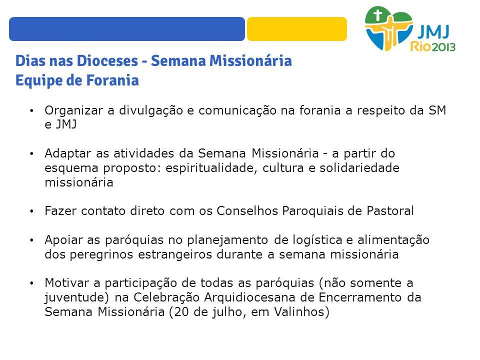 Dias nas Dioceses - Semana Missionária Equipe de Forania Organizar a divulgação e comunicação na forania a respeito da SM e JMJ Adaptar as atividades