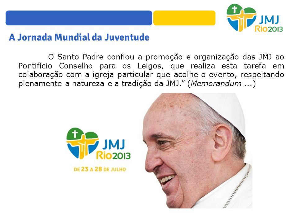 O Santo Padre confiou a promoção e organização das JMJ ao Pontifício Conselho para os Leigos, que realiza esta tarefa em colaboração com a igreja part