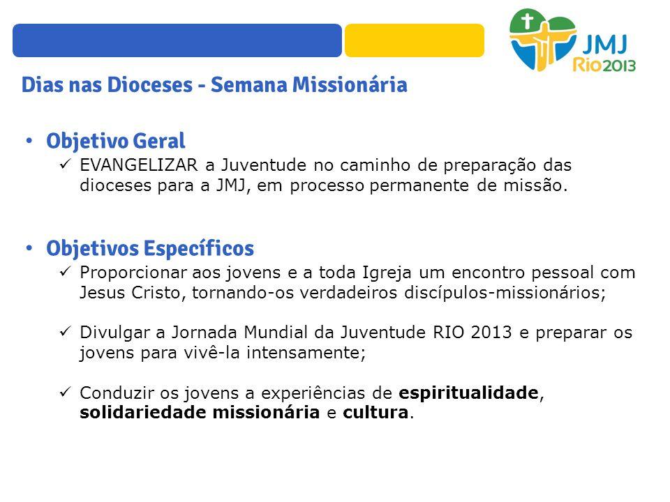 Objetivo Geral EVANGELIZAR a Juventude no caminho de preparação das dioceses para a JMJ, em processo permanente de missão. Objetivos Específicos Propo