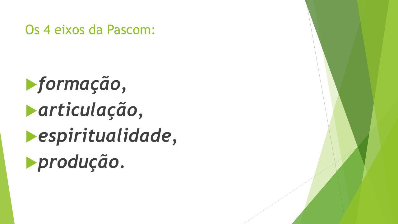 Os 4 eixos da Pascom: formação, articulação, espiritualidade, produção.