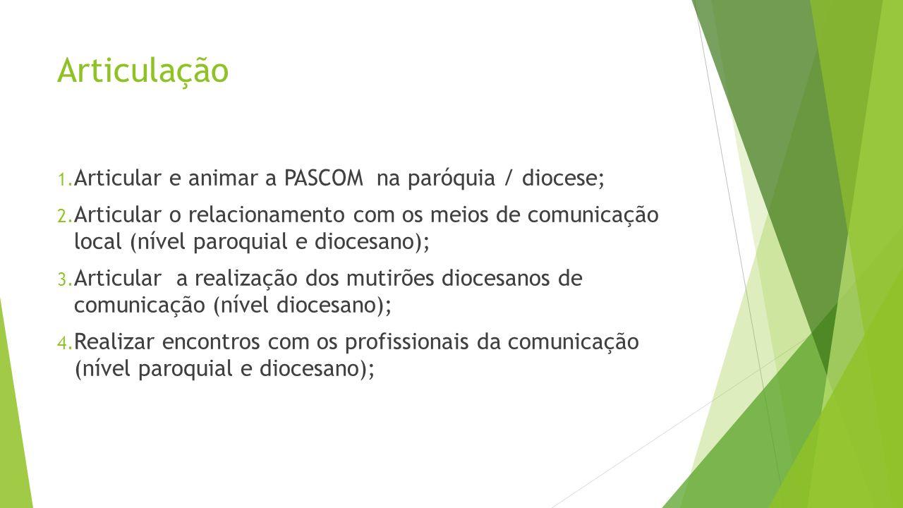 Articulação 1. Articular e animar a PASCOM na paróquia / diocese; 2. Articular o relacionamento com os meios de comunicação local (nível paroquial e d