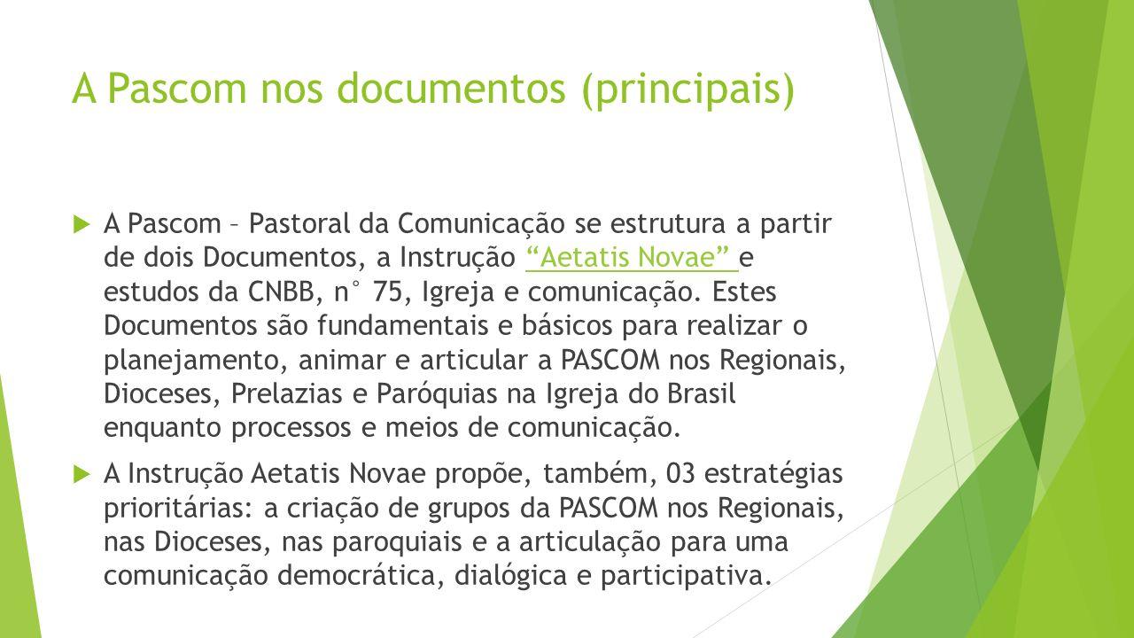 A Pascom nos documentos (principais) A Pascom – Pastoral da Comunicação se estrutura a partir de dois Documentos, a Instrução Aetatis Novae e estudos