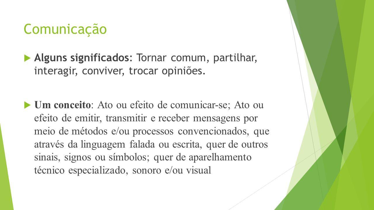Comunicação Alguns significados: Tornar comum, partilhar, interagir, conviver, trocar opiniões. Um conceito: Ato ou efeito de comunicar-se; Ato ou efe