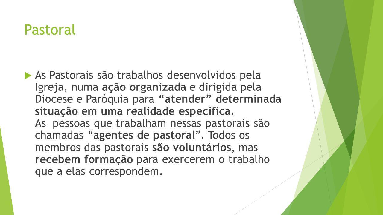 Pastoral As Pastorais são trabalhos desenvolvidos pela Igreja, numa ação organizada e dirigida pela Diocese e Paróquia para atender determinada situaç