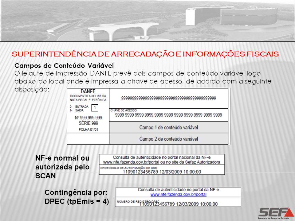 SUPERINTENDÊNCIA DE ARRECADAÇÃO E INFORMAÇÕES FISCAIS Campos de Conteúdo Variável O leiaute de impressão DANFE prevê dois campos de conteúdo variável