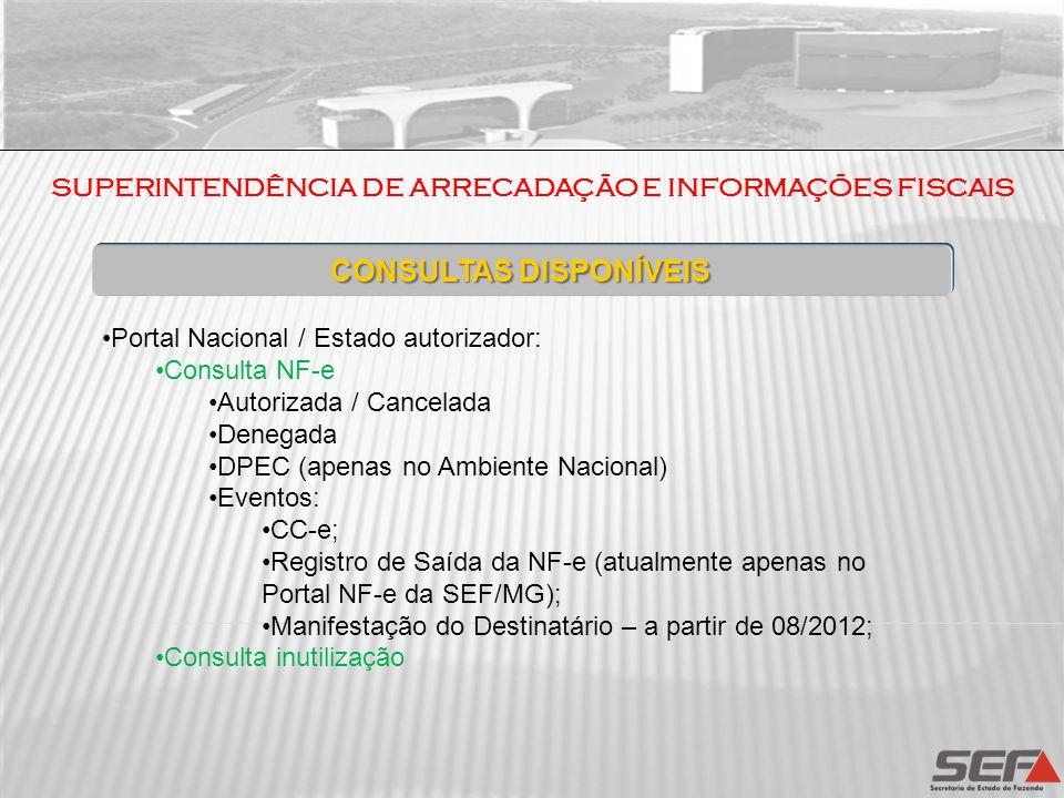 CONSULTAS DISPONÍVEIS Portal Nacional / Estado autorizador: Consulta NF-e Autorizada / Cancelada Denegada DPEC (apenas no Ambiente Nacional) Eventos: