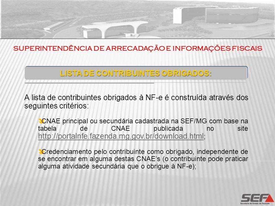 SUPERINTENDÊNCIA DE ARRECADAÇÃO E INFORMAÇÕES FISCAIS LISTA DE CONTRIBUINTES OBRIGADOS: A lista de contribuintes obrigados à NF-e é construída através