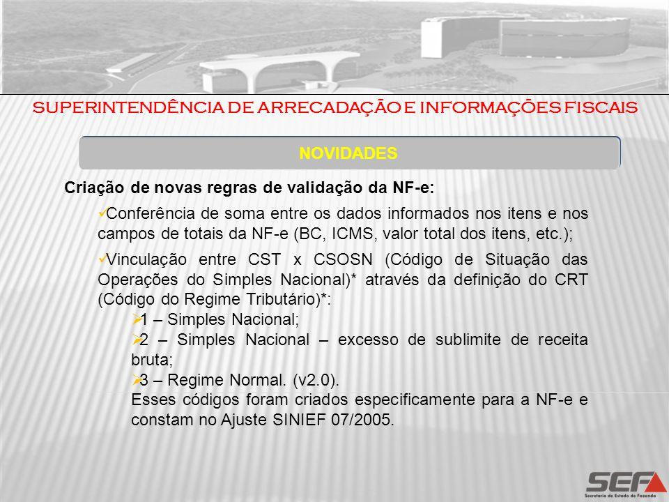 NOVIDADES Criação de novas regras de validação da NF-e: Conferência de soma entre os dados informados nos itens e nos campos de totais da NF-e (BC, IC