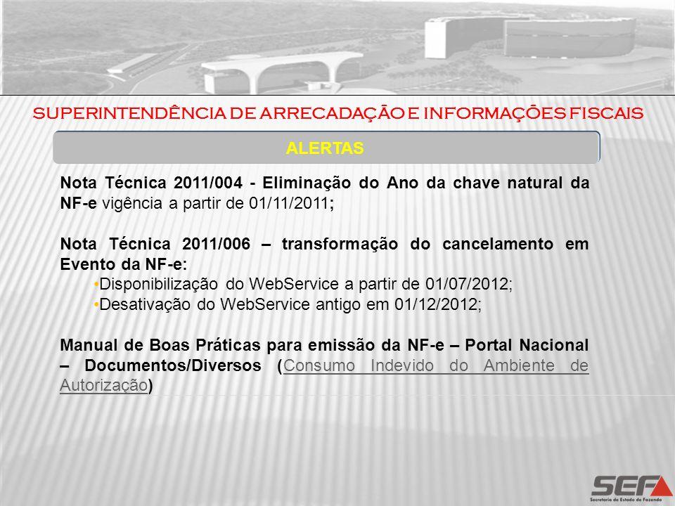 ALERTAS Nota Técnica 2011/004 - Eliminação do Ano da chave natural da NF-e vigência a partir de 01/11/2011; Nota Técnica 2011/006 – transformação do c