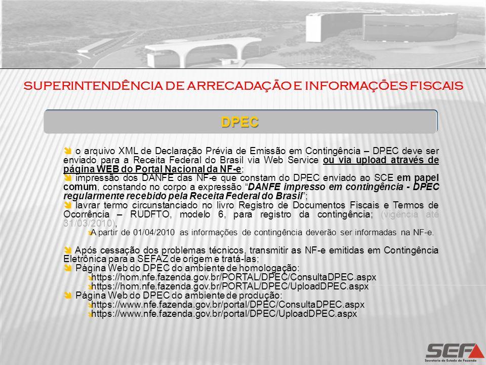 SUPERINTENDÊNCIA DE ARRECADAÇÃO E INFORMAÇÕES FISCAIS DPEC o arquivo XML de Declaração Prévia de Emissão em Contingência – DPEC deve ser enviado para