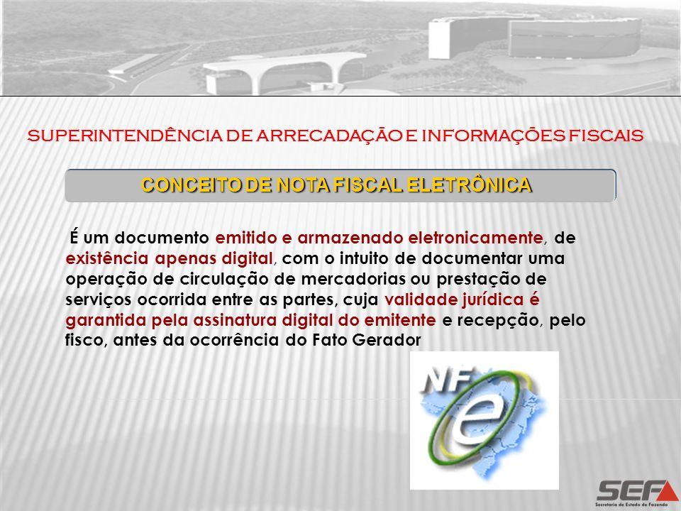 SUPERINTENDÊNCIA DE ARRECADAÇÃO E INFORMAÇÕES FISCAIS É um documento emitido e armazenado eletronicamente, de existência apenas digital, com o intuito