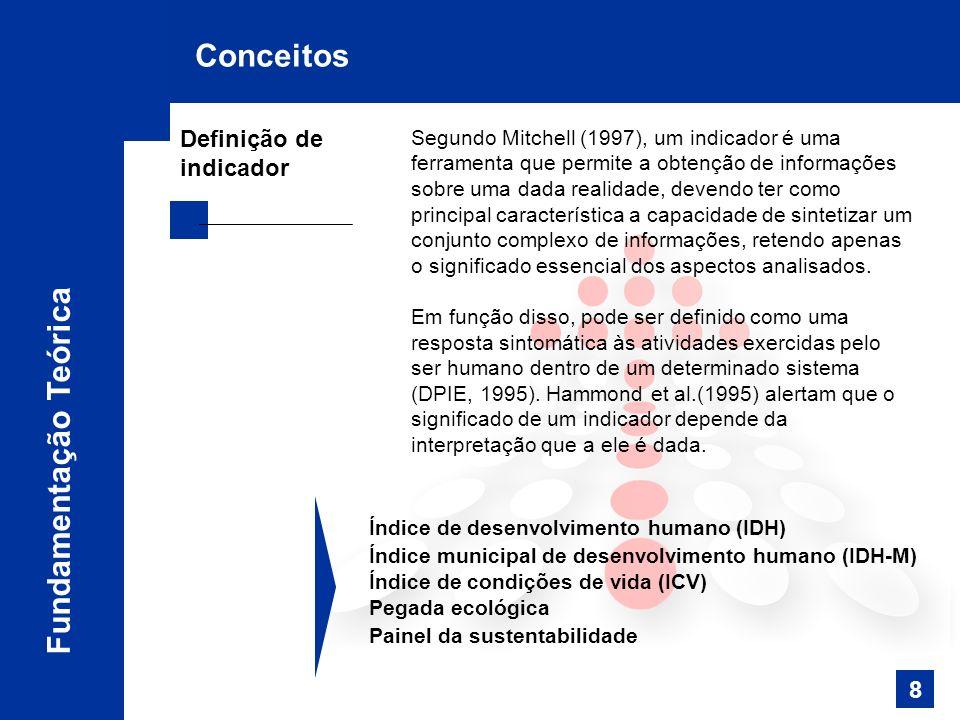 Segundo Mitchell (1997), um indicador é uma ferramenta que permite a obtenção de informações sobre uma dada realidade, devendo ter como principal característica a capacidade de sintetizar um conjunto complexo de informações, retendo apenas o significado essencial dos aspectos analisados.