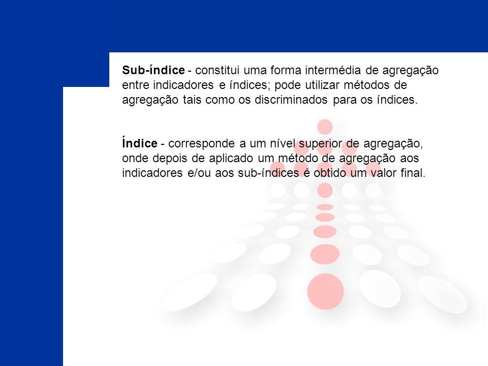 Sub-índice - constitui uma forma intermédia de agregação entre indicadores e índices; pode utilizar métodos de agregação tais como os discriminados pa