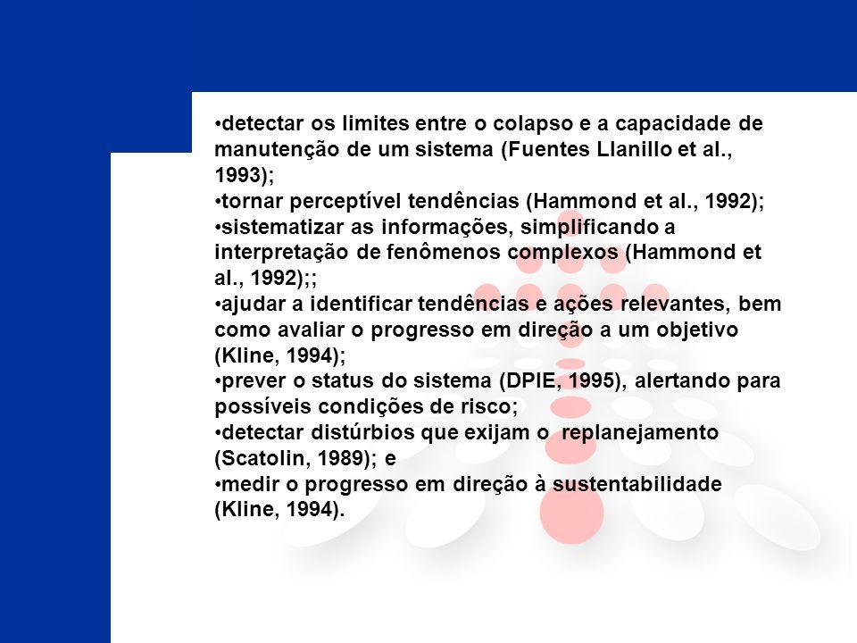 detectar os limites entre o colapso e a capacidade de manutenção de um sistema (Fuentes Llanillo et al., 1993); tornar perceptível tendências (Hammond et al., 1992); sistematizar as informações, simplificando a interpretação de fenômenos complexos (Hammond et al., 1992);; ajudar a identificar tendências e ações relevantes, bem como avaliar o progresso em direção a um objetivo (Kline, 1994); prever o status do sistema (DPIE, 1995), alertando para possíveis condições de risco; detectar distúrbios que exijam o replanejamento (Scatolin, 1989); e medir o progresso em direção à sustentabilidade (Kline, 1994).