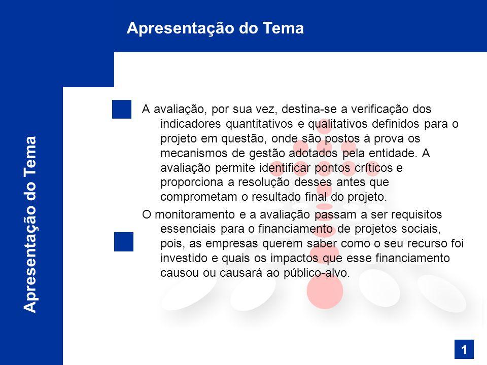 1 Apresentação do Tema A avaliação, por sua vez, destina-se a verificação dos indicadores quantitativos e qualitativos definidos para o projeto em questão, onde são postos à prova os mecanismos de gestão adotados pela entidade.