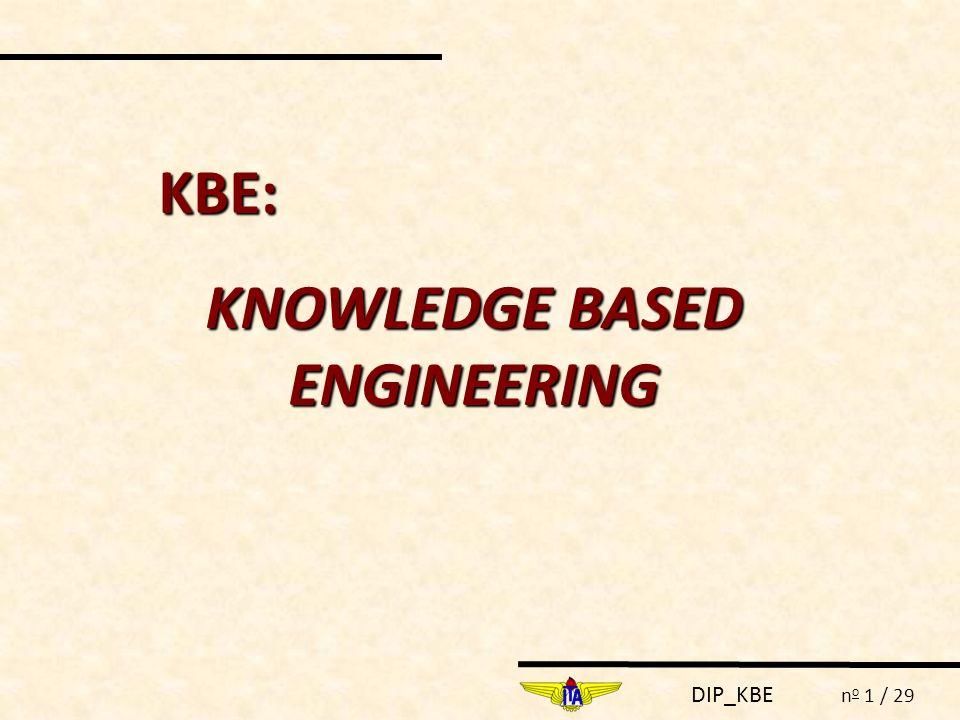 DIP_KBE n o 1 / 29 KBE: KNOWLEDGE BASED ENGINEERING