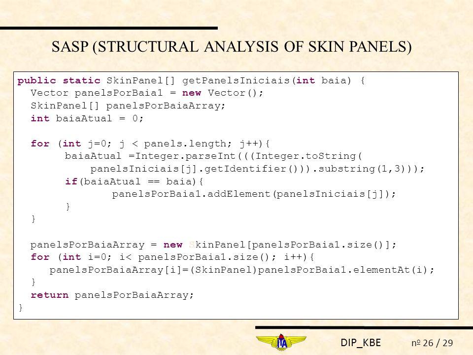 DIP_KBE n o 26 / 29 SASP (STRUCTURAL ANALYSIS OF SKIN PANELS) public static SkinPanel[] getPanelsIniciais(int baia) { Vector panelsPorBaia1 = new Vect