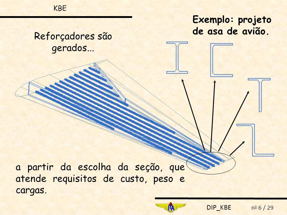 DIP_KBE n o 6 / 29 Reforçadores são gerados... a partir da escolha da seção, que atende requisitos de custo, peso e cargas. Exemplo: projeto de asa de