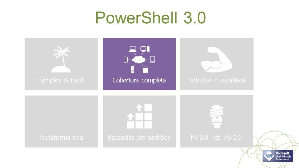 PowerShell 3.0 Simples & Facil PS 3.0 -gt PS 2.0 Robusto e escalável Cobertura completa Plataforma ricaBaseadas em padrões