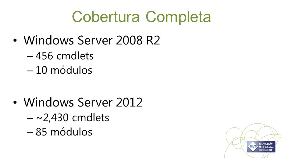 Cobertura Completa Windows Server 2008 R2 – 456 cmdlets – 10 módulos Windows Server 2012 – ~2,430 cmdlets – 85 módulos